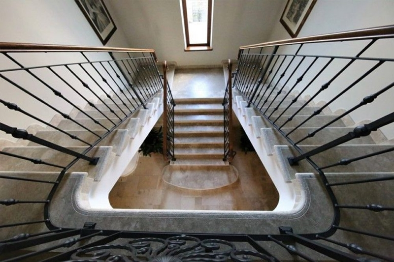 Artistic staircase in Jerusalem Stone Gray Gold